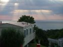 The view from the caravan out to Cardigan Bay